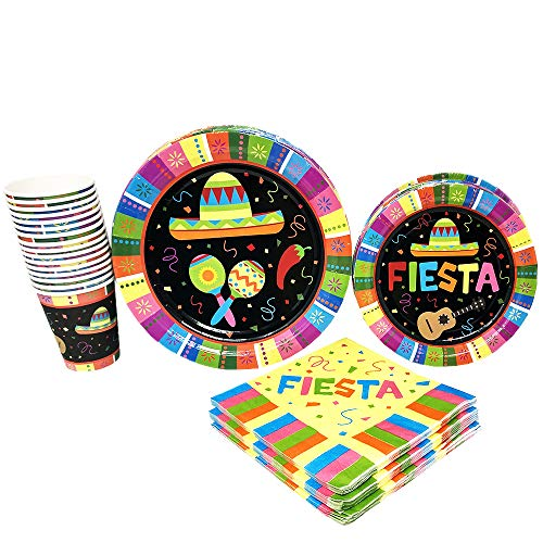 Fiesta Standard Party Packs (65+ Pieces for 16 Guests), Colorful Party Tableware, Fiesta Supplies]()