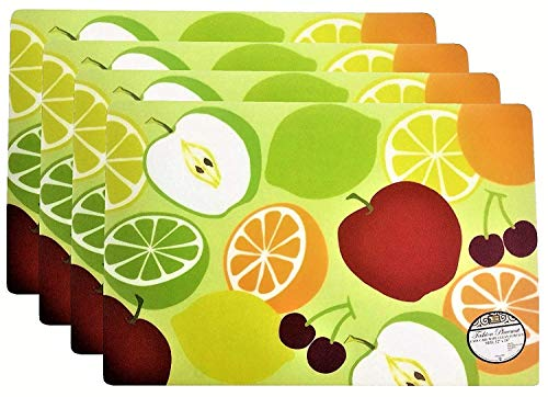 Set of 4 Fashion Placemats Durable Fresh Fruits Pattern Ease Care Wipe Clean Foam Backing Table Place Mat Set 12