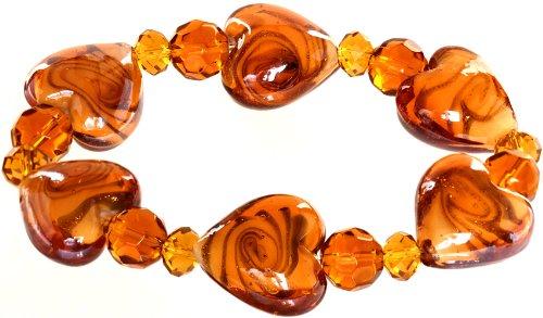 Genuine Italian Murano Glass - Ace Of Diamonds Love Heart Italian Murano Glass Stretch Bracelet (Amber)