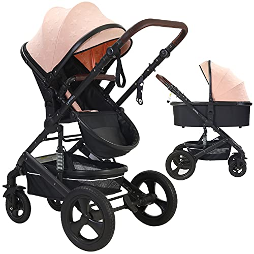 Newborn Infant Toddler Baby Stroller - Strollers with Backrest Adjustable Reversible, 2 in 1 High Landscape Convertible Bassinet Foldable Aluminum Alloy 3D Shock Absorption All Terrain Pram (Pink)
