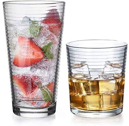 Drinking Glasses – Set of 8 Glass Cups, 4 Highball Glasses (17oz) 4 Rocks Glasses (13oz) Ribbed Glasses for Mixed Drinks…