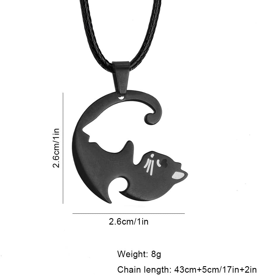 Shuxy Couples Necklaces Stainless Steel Necklace Love Pendant Necklace Black White Cuddling Cat Necklace Matching Puzzle Charm for Lover Friends Family Christmas Valentines Day Jewelry Gift