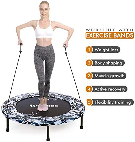 """2020 Upgraded Wamkos 40"""" Rebounder Mini Exercise Trampoline for Adults Kids,Indoor Foldable Fitness Trampoline Trainer with Resistance Bands for Sports & Outdoor,Yoga and Other Jumping Cardio Exercise 6"""