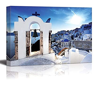 Beautiful Landscape Scenery Amazing Santorini with Churches and Sea View in Greece - Canvas Art Wall Art - 12