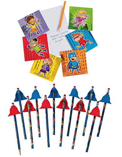 Fun Express Superhero Notepads and Hero Pencils with Cape Erasers Bundle | 24 Notepads & 12 Pencils | for Birthday Parties,, Party Favors, and Prizes]()