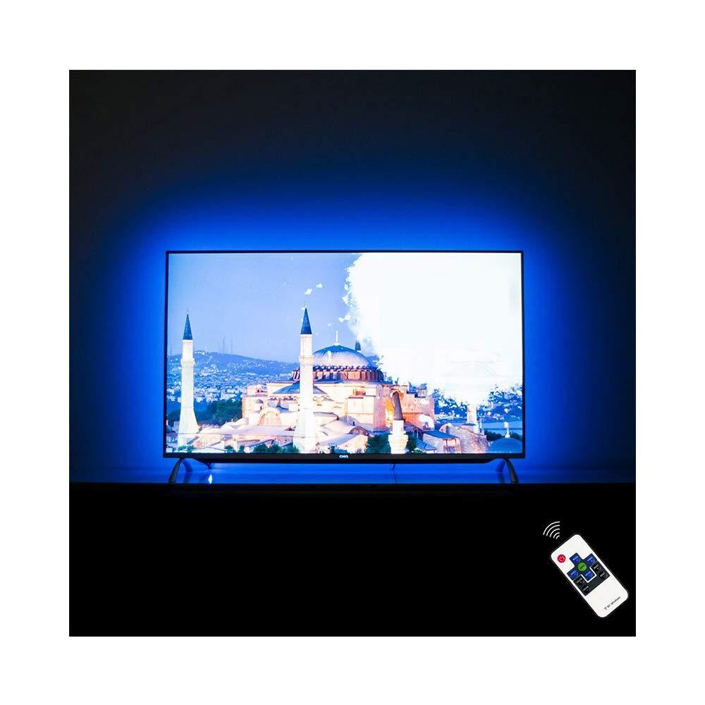 LED TV Backlight for 70 75 82 85 Inch, S-Style USB LED Light Strip Behind TV Bias Lighting. 18ft, RF Remote, 20 Colors, 22 Modes, (Custom Version) by HAMLITE