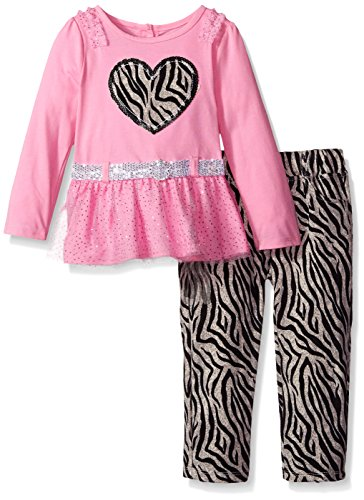 Young Hearts Little Girls' Toddler 2 Piece Long Sleeve Shirt with Belt and Pant, Pink, 2T