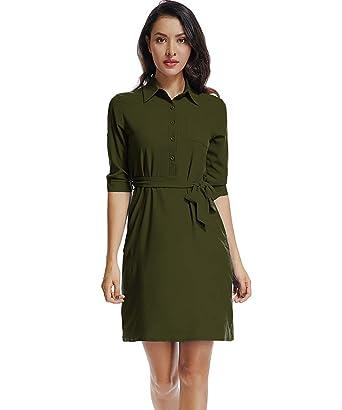 21299f3976ed Fellissy Damen Kleide Langarm Tshirt Kleid Blusenkleider mit Gürtel Casual  Hemdkleider sexy Umlegkragen  Amazon.de  Bekleidung