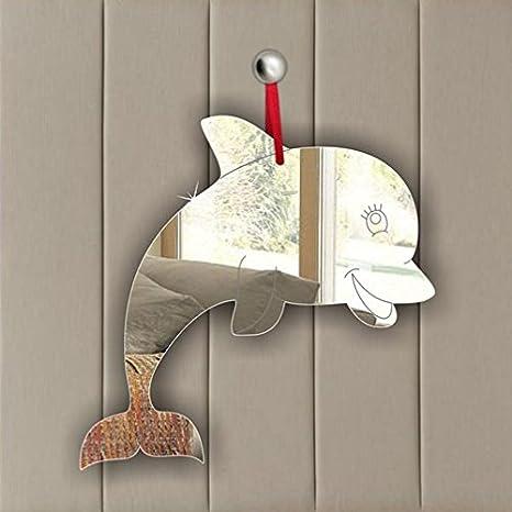 Pack of 5 Dolphin Acrylic Mirror Ornament - Window Hanging - Ceiling - Door - Nursery - Children - Room Decoration Mirrors-interiors