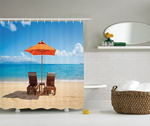 Girl Under Umbrella (Ambesonne Coastal Decor Collection, Two Chairs near Caribbean Sea under Colorful Umbrella Wedding Celebrations Picture, Polyester Fabric Bathroom Shower Curtain, Orange Beige Blue)