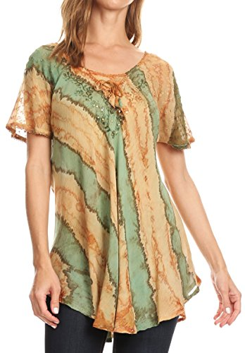 Sakkas 17789 - Valencia Tie Dye Sheer Cap Sleeve Embellished Drawstring Scoop Neck Top - 8-Brown - OSP