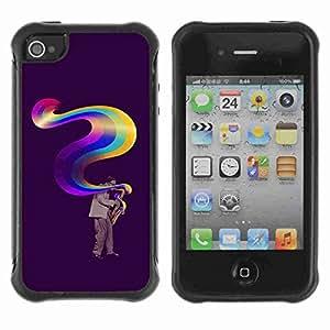A-type Arte & diseño Anti-Slip Shockproof TPU Fundas Cover Cubre Case para Apple iPhone 4 / 4S ( Cool Music Is Colors Art )