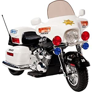 Kid Motorz Police Motorcycle 12-Volt Battery-Powered Ride-On With Headlight, hazard light and signal light by Kid Motorz