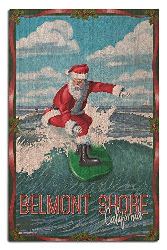 Belmont Shore, California - Santa Surfing (12x18 Wood Wall Sign, Wall Decor Ready to - California Belmont Shore