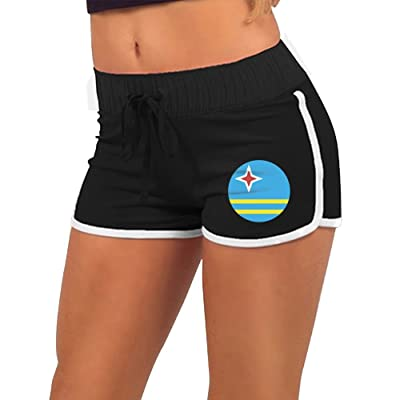 Kuswaq Aruba Flag Trendy Fitness Casual Women Authentic Short Running Short