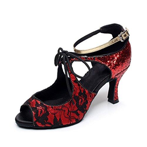 Ballroom 2 Dance toe Latin Womens Red with Heel 75 Heels Salsa Shoes Practice Open Tango BCLN Sandals qO4URnz