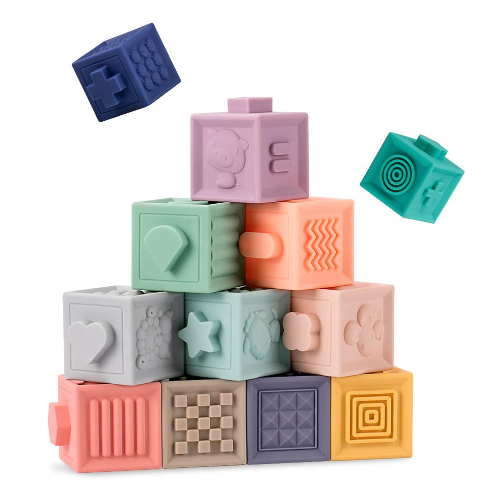 Mojoe Building Blocks for Toddlers - Educational Baby Toys 6 Months and up Starter Kit with Numbers, Shapes, Animals & Textures - 12 Soft & Colorful Stacking Blocks - BPA Free