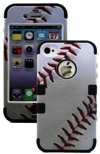 """myLife (TM) Black and Baseball Print - Sports Series (3 Piece Protective) Hard and Soft Case for the iPhone 4/4S (4G) 4th Generation Touch Phone (Fitted Front and Back Solid Cover Case + Internal Silicone Gel Rubberized Tough Armor Skin + Lifetime Warranty + Sealed Inside myLife Authorized Packaging) """"ADDITIONAL DETAILS: This three layer iphone 4 armor skin gel fit together case is made of grip easy smooth silicone and hardshell plates that slide in to your pocket easily yet won't slip out of your hand"""""""