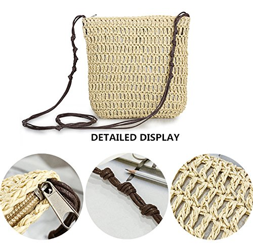 Woven Casual Straw Shoulder Vacation Bag Brown Crossbody Crochet Womens Summer Bag Andear Beach Purse w1tHE5
