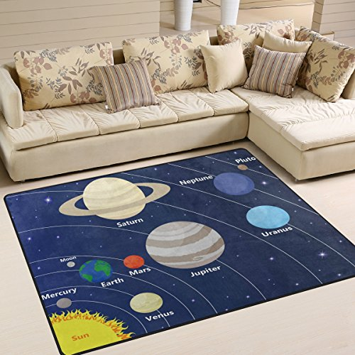 ALAZA Solar System with Sun Planets Area Rug Rugs Mat for Living Room Bedroom 7'x5' by ALAZA