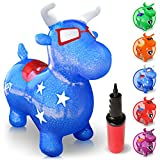 WALIKI TOYS Bouncy Horse Hopper, Pump Included (Benny the Jumping Bull Inflatable Hopping Animal, Riding Horse for Kids, Hoppy Horse, Ride-on Hopper Horse, Blue, for Toddlers)