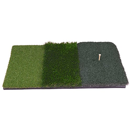 HOMGARDEN Golf Hitting Mat (25'' x 16'') Three Turf Types with Rubber Tee for Driving, Chipping and Putting Golf Practice and Training by HOMGARDEN (Image #8)