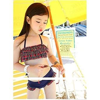 3a156443f28 Amazon | 子供服 女の子 水着 レッド×ネイビーチェックセパレートウェアー 海外ブランド | 水着 通販