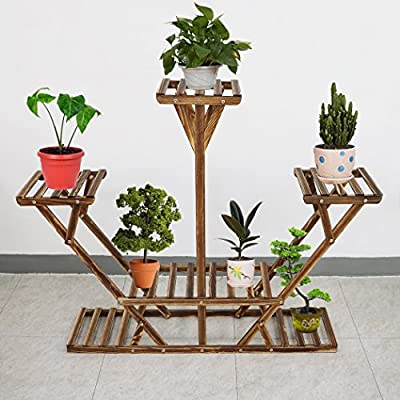 Pine Wooden Plant Stand, Six-Tiered Planter, Bonsai Display, Indoor Outdoor Flower Rack for Yard Decor