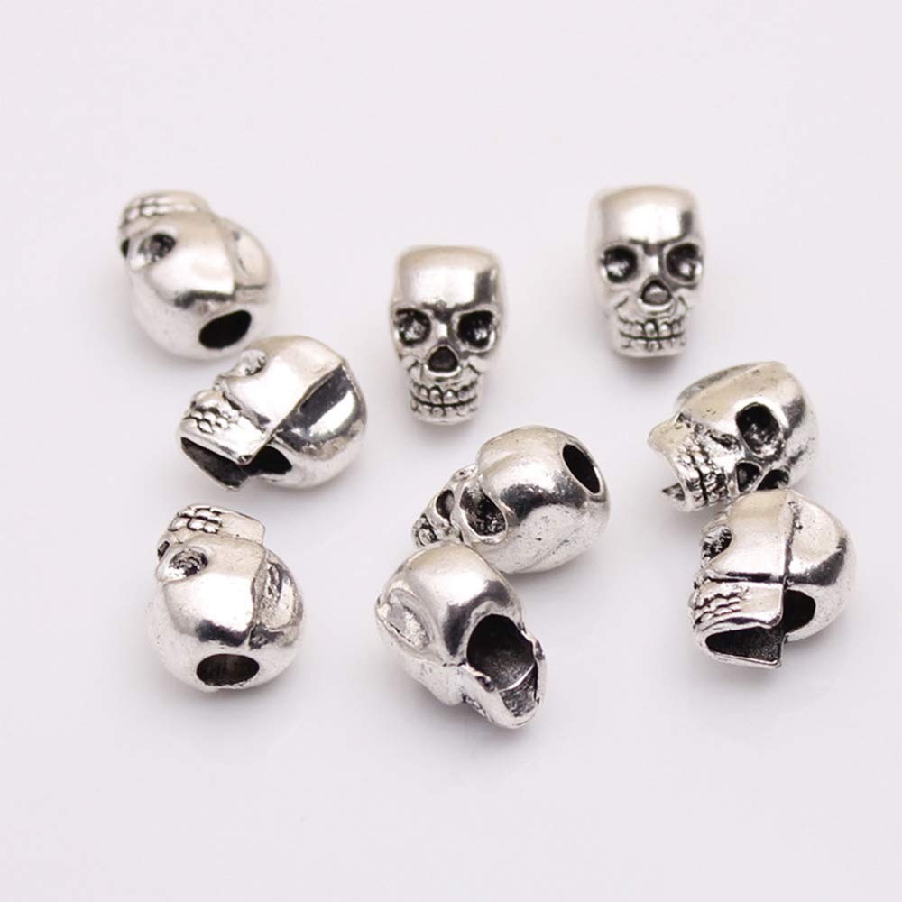Ogquaton Retro Skull Beads Personalidad DIY Granos Accesorios para Pulseras y joyer/ía Hacer Agujero Vertical Big Hole Beaded 10 Unidades