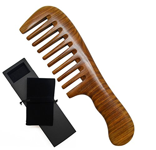 Meta-C Portable Comb - Made From One Whole Piece Of Natural Green Sandal Wood - Wave Handle (Wider tooth)