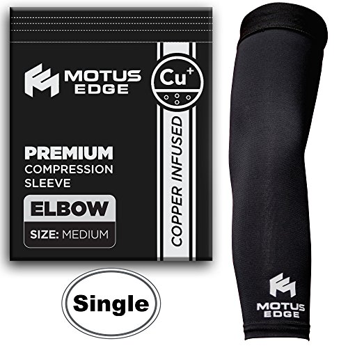 Motus Edge Copper Infused Elbow Compression Sleeve for Tennis Elbow, Tendonitis, Crossfit, Pain Relief (1-Pack - Medium)