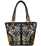 Montana West Concealed Carry, Floral Embroidery Boot Scroll Tote - Black