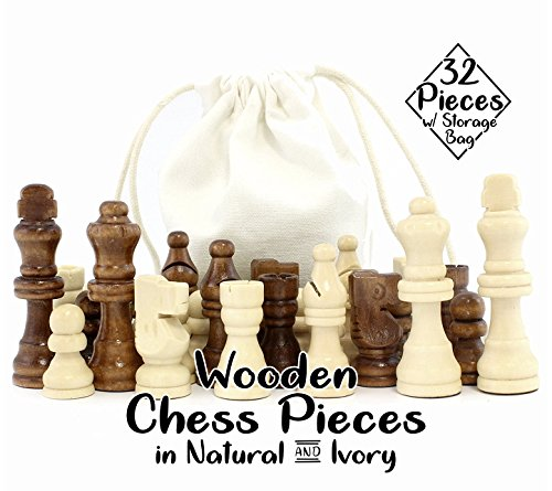 Wood Chess Pieces - Attatoy Set of Complete Wooden Chess Pieces (32 pieces), Wooden Replacement Chess Figures with Kings, Queens, Castles, Knights & Pawns