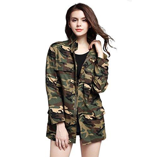 - ACHIEWELL Womens Camou Jacket Zipper Casual Military Outwear Lightweight Coat (Medium)