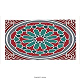 Custom printed Throw Blanket with Arabian Decor Collection Elegant Islamic Ethnic Old Style Ornate Persian Pattern with Victorian Touch Artprint Red Grey Teal Super soft and Cozy Fleece Blanket