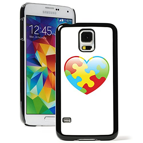 For Samsung Galaxy S5 Active Hard Back Case Cover Autism Puzzle Heart (Black)