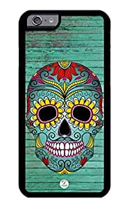 iZERCASE iPhone 6 PLUS Case Sugar Skull on Turquoise Wood Pattern RUBBER CASE - Fits iPhone 6 PLUS T-Mobile, Verizon, AT&T, Sprint and International