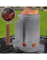 Encendedor de carbón para barbacoa o chimenea | Cuerpo de acero galvanizado y resistente al calor con asa de securidad Ø 17 cm | BBQ, Barbacoa rápida, carbón vegetal, Parilla