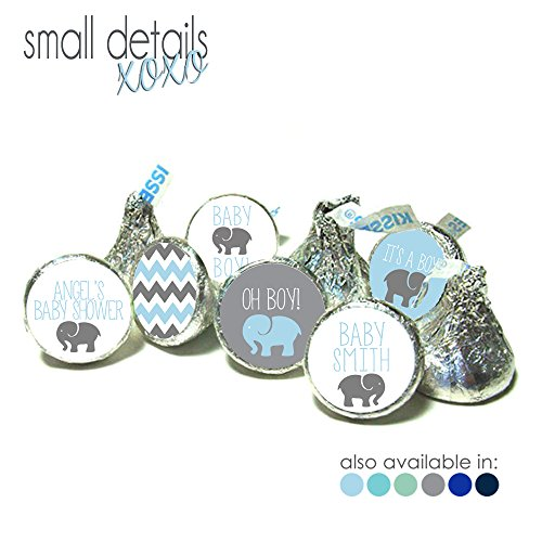 ELEPHANT Themed Its a Boy! Baby Shower kiss stickers ~ fits Hershey's Kisses Chocolate - Stickers Only - (108 peel & stick stickers) Lifesaver Baby Shower Favors