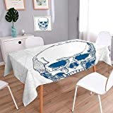 L-QN Spring & Summer Outdoor Tablecloth, Spill Proof and Waterproof Drawn Human Skull with Science Elements Background Medical Theme Illustration Blue White Multicolor 60''x84''