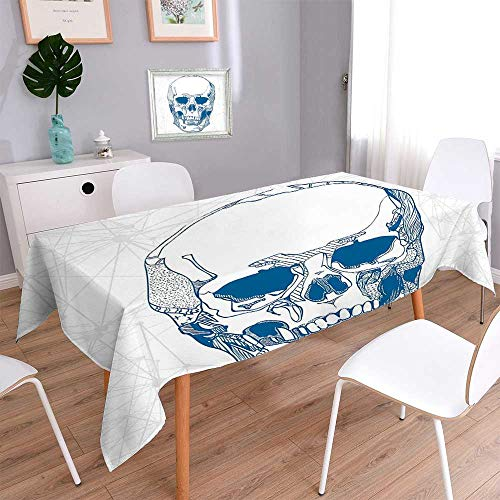 L-QN Spring & Summer Outdoor Tablecloth, Spill Proof and Waterproof Drawn Human Skull with Science Elements Background Medical Theme Illustration Blue White Multicolor 60''x84'' by L-QN