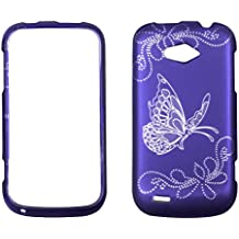 2D Silver Butterfly on Purple ZTE Savvy Z750c (StraightTalk) Case Cover Hard Phone Case Snap-on Cover Rubberized Touch Faceplates