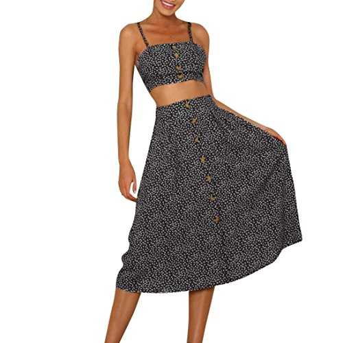 Backless Dress Strappy Sleeveless Boho Party Beach Lace-up Tank Two-Piece Sling Long Skirt Sets (Black, 10-12) ()