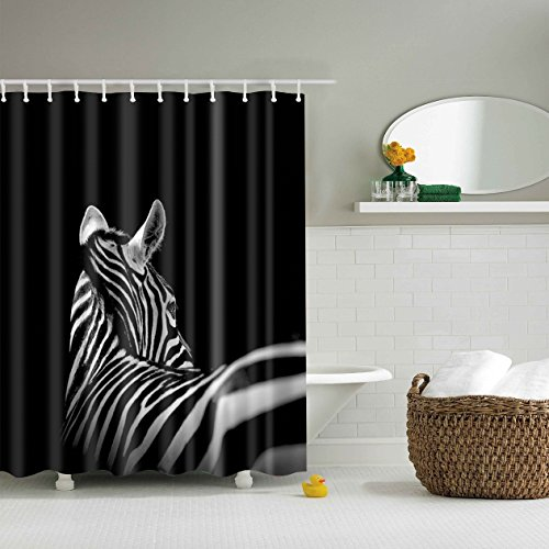 zebra fabric shower curtain - 4
