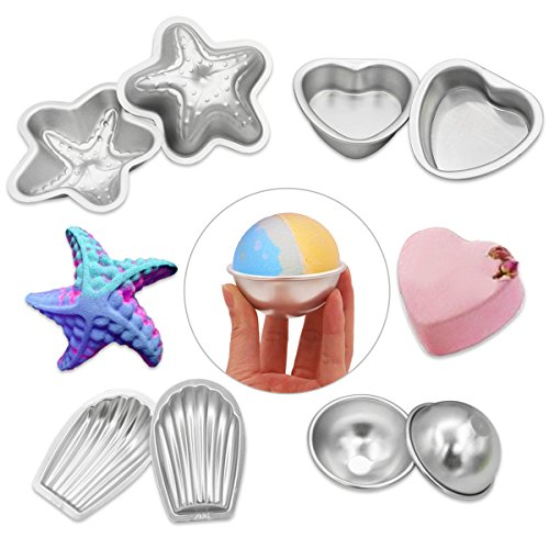 melonboat-metal-bath-bomb-molds-fizzies-set-of-4-2-shell-shape-2-hemispheres-2-heart-shape-2-starfis