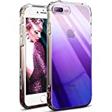 OCYCLONE iPhone 8 Plus Case for Women, iPhone 7 Plus Case for Women, Luxury Slim Fit Gradient Change Color Electroplating Bumper Anti-Drop Soft TPU Cover Holder, Gradient Purple