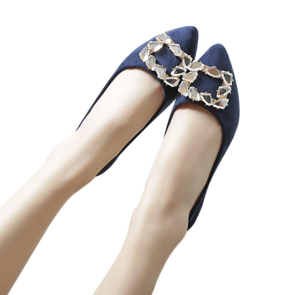 QZUnique Women's Pointed Toe PU Leather Ballet Slip On Boat Rhinestone Flat Shoes B0757H1JG3 7 B(M) US|Blue
