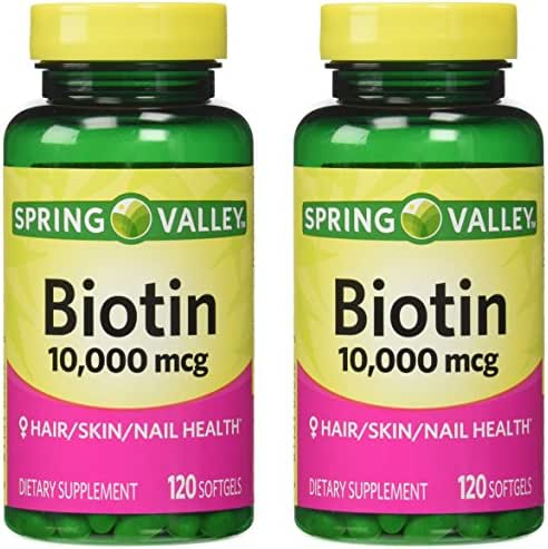 Spring Valley Biotin 10,000 mcg, 2 Bottles of 120 Softgels (2 Pack)