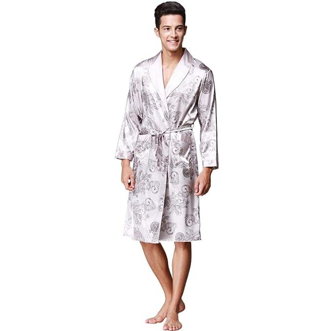 WanYangg Albornoz Kimonos Pijama para Hombre Largo Camisón Robe Bata Ropa De Dormir Satín Bata De Baño Dragón De Impresión Seda De Imitación Gris 3XL: ...