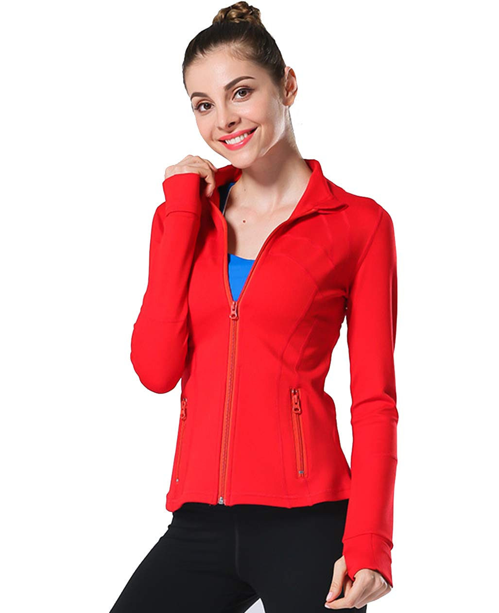 UDIY Womens Slim Fit Activewear Jackets Sweatshirts with Two Side Pocket Jacket Coat Red by UDIY